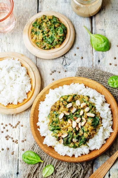 lentils, peanut butter spinach curry with rice