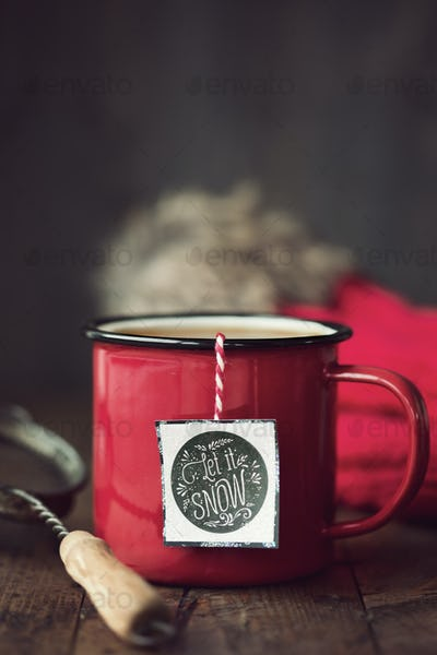 Festive mug of tea