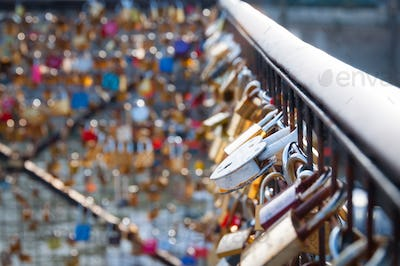 Love lock on a bridge in Paris