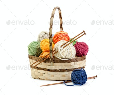 Wicker basket with balls of yarn