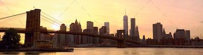 New York City panorama at sunset