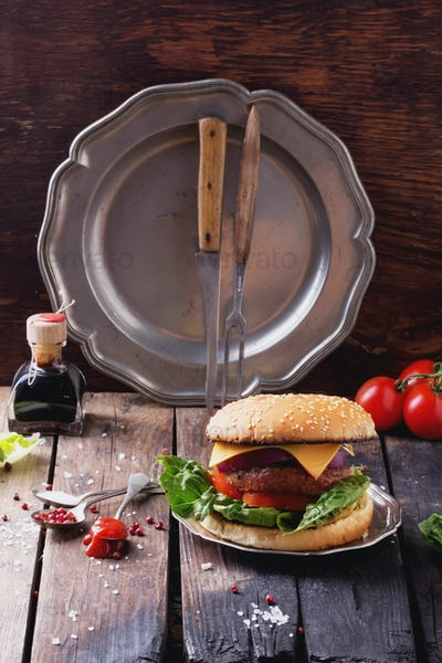 Home made burger cooking