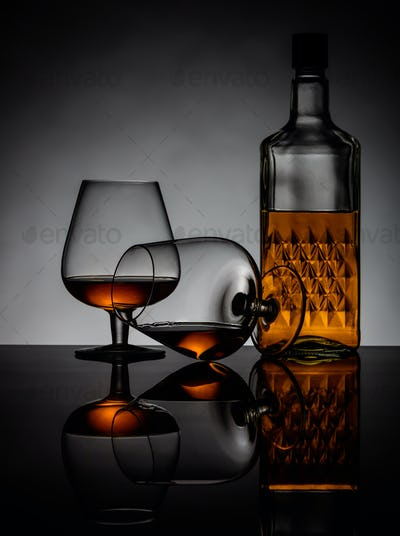 Cognac Glasses and Bottle