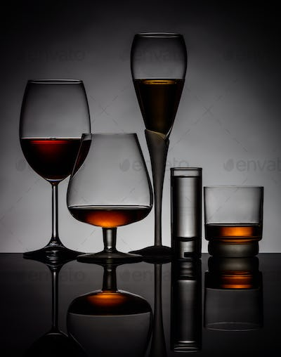 Alcoholic Drinks in Glasses