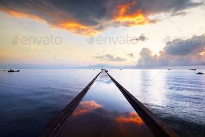 Pier at the sunrise