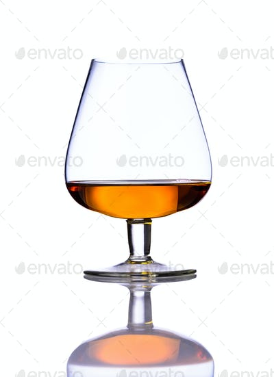 Glass Cognac on White Background