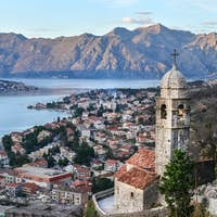 The view over Kotor, Montenegro, the old church, the bay and the
