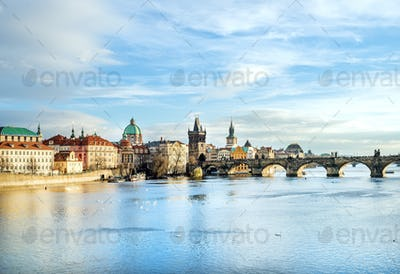 The view over the Vltava river, Charles bridge and white swans f