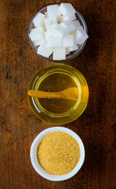 Sweeteners on Wooden Table-top