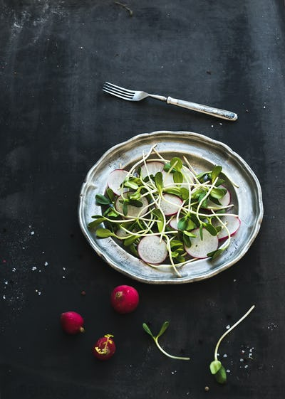Spring salad with sunflower sprouts and radish in vintage metal plate