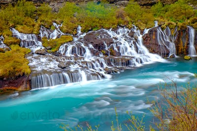 The tiny Hraunfossar falls, Iceland