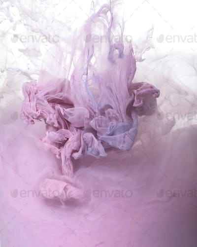 Background of pink acrylic paint in water.