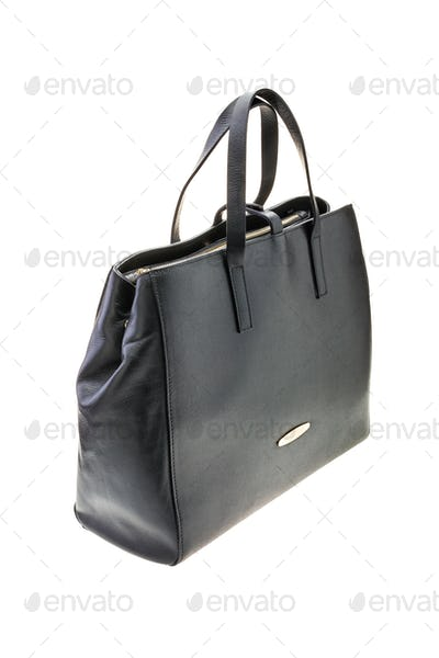 Black womens bag isolated on white background.
