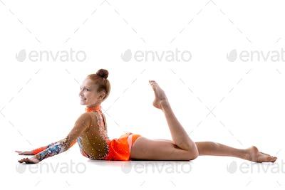 Dancer girl in colorful leotard
