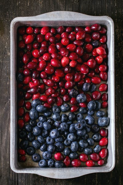 Cranberries and blueberries