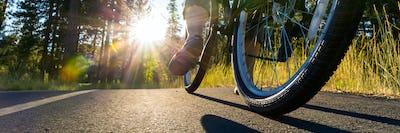 Biker at sunset