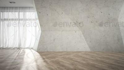 Empty room with broken concrete wall 3D rendering