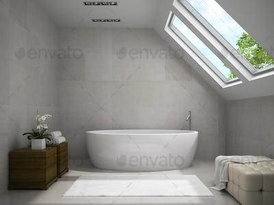 Interior of modern bathroom with wooden cupboards 3D rendering 2