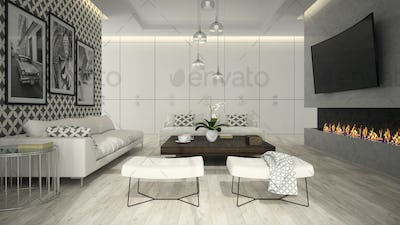 Interior of living room with stylish wallpaper 3D rendering 3
