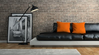 Part of  interior with brick wall and black sofa 3D rendering 2