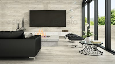 Interior of modern design living room 3D rendering 5