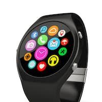Black round smart watch on white background