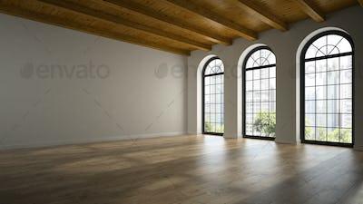 Empty loft room with arc windows 3D rendering 2