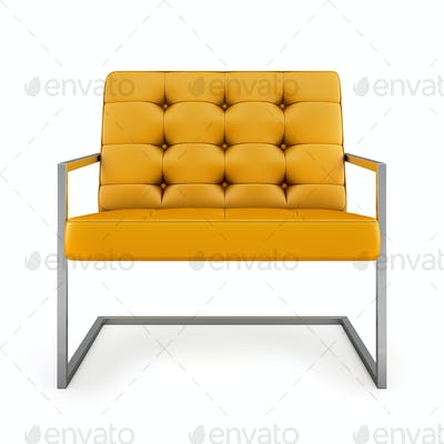 Orange modern armchair isolated on white background 3D rendering