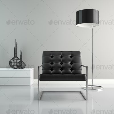 Part of  interior with black floor lamp 3D rendering