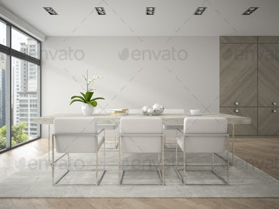 Interior of modern design loft with big table 3D rendering 4