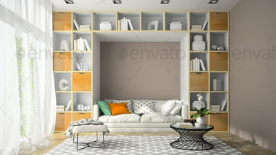 Interior of modern design room with shelf wall 3D rendering
