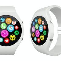 Three view White round smart watch on white background
