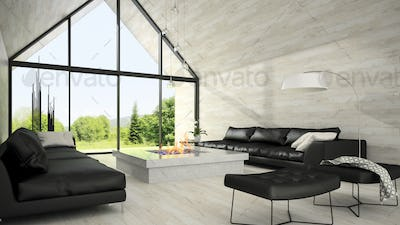 Interior of modern design living room 3D rendering 6