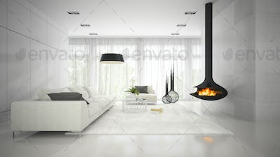 Interior of modern design white room with fireplace 3D rendering