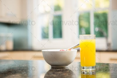 Breakfast on kitchen counter at home in morning
