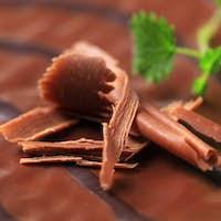 Chocolate glaze and shavings