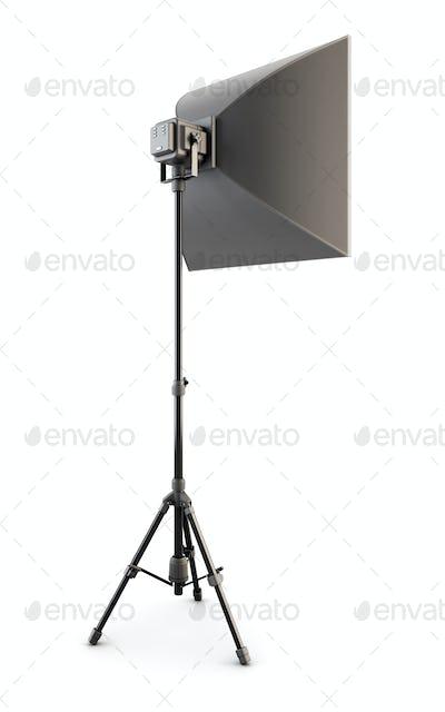 Studio strobe on white background. Studio softbox isolated. 3d.