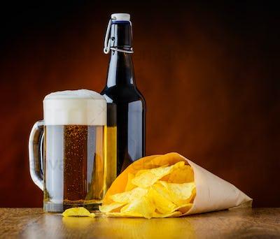 Mug Beer and Potato Chips