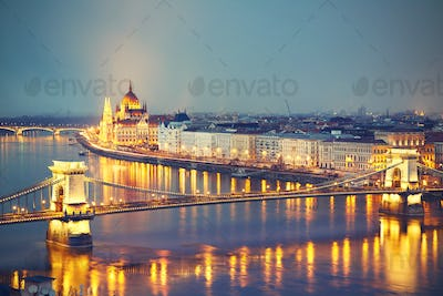 Amazing twilight in Budapest