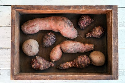 Sweet potato, jerusalem artichoke and potato