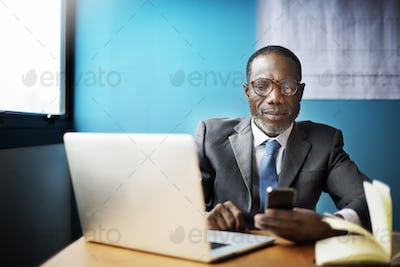 Businessman Using Mobile Phone Communication Concept