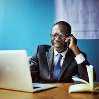 Businessman Talking Mobile Phone Communication Concept