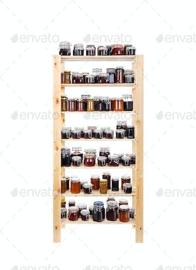 Shelves of homemade jam