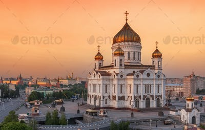 Cathedral of Christ the Savior in the Evening, Russia, Moscow