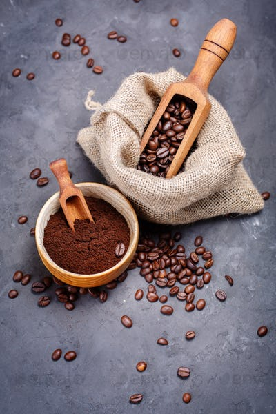 Coffee beans in wooden scoops