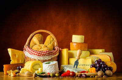 Cheese with Bread and Food