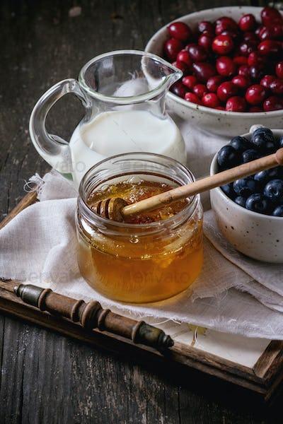Honey, milk and berries