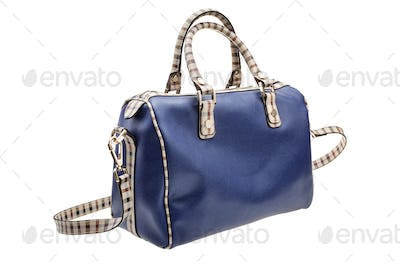 Blue womens bag isolated on white background.