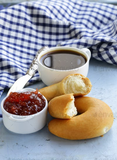 Strawberry Jam and Bread Rolls