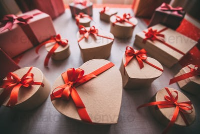 Gifts tied with ribbon and red heart. Valentine's day.